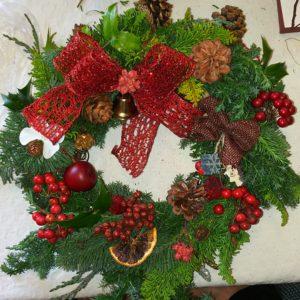 【生の樹木で作る】本物のクリスマスリース